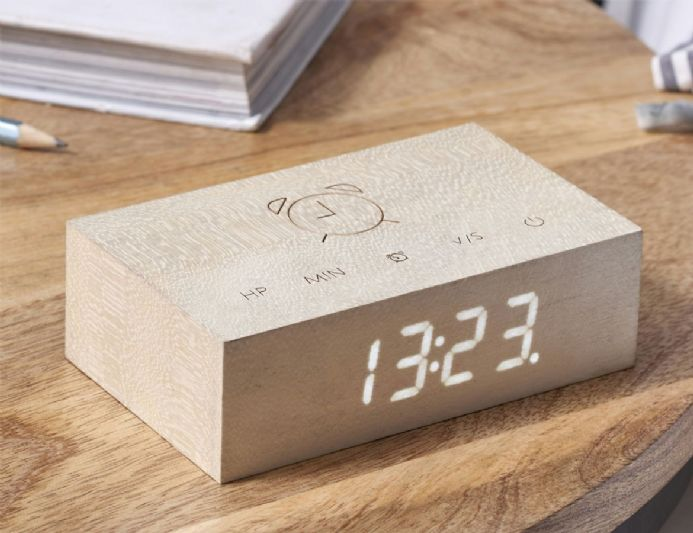 Gingko Flip Click Clock - White Maple